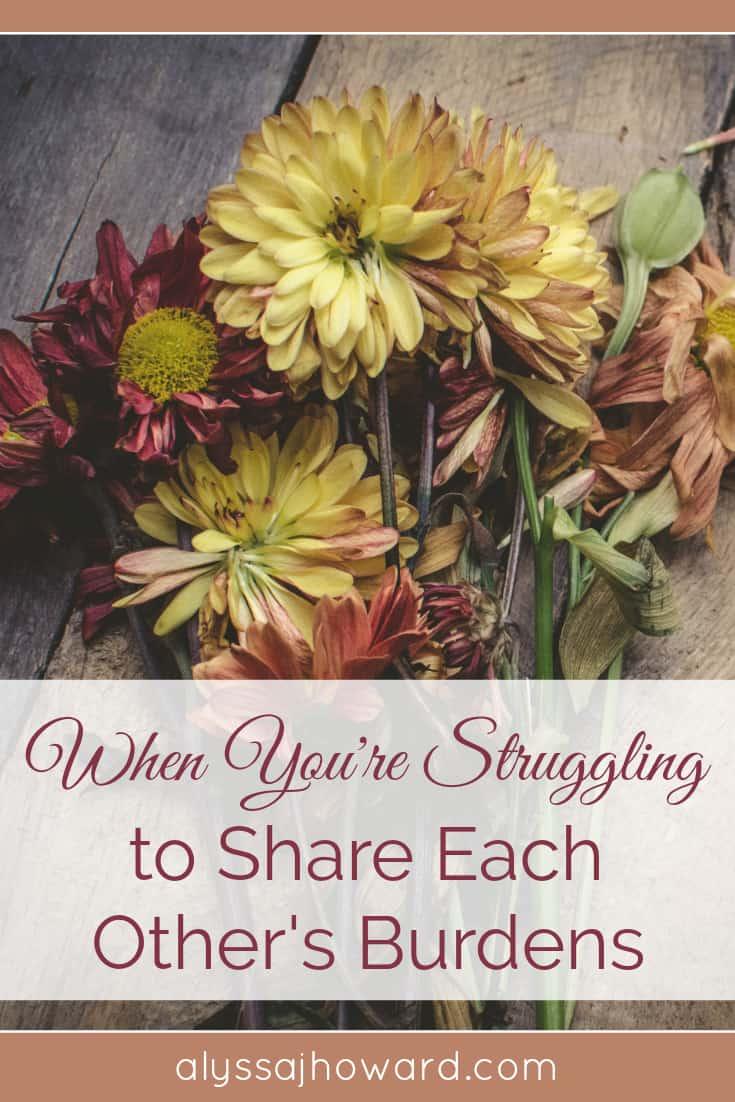 When You're Struggling to Share Each Other's Burdens | alyssajhoward.com
