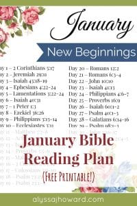 January Bible Reading Plan | alyssajhoward.com