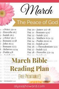 March Bible Reading Plan | alyssajhoward.com